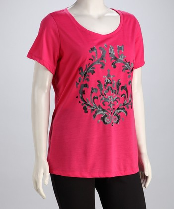 Hot Pink Modern Scroll Short-Sleeve Tee - Plus