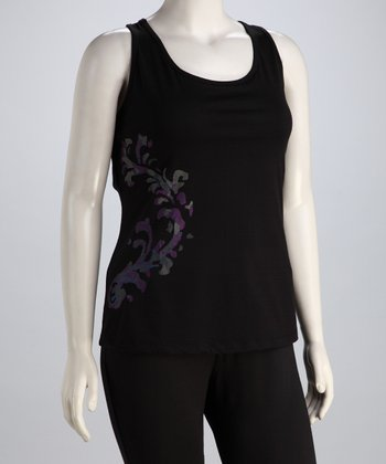 Black Scroll Racerback Tank - Plus