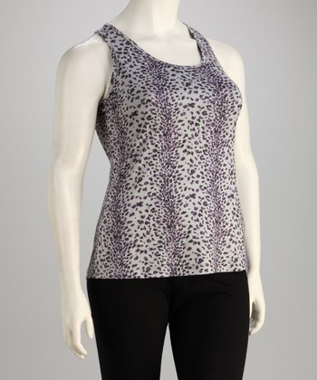 Gray Cheetah Racerback Tank - Plus