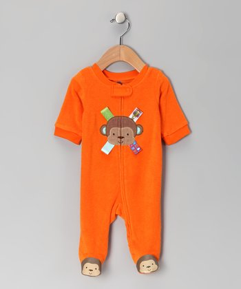 Orange Monkey Zip-Up Footie