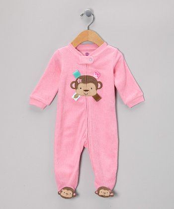 Pink Monkey Zip-Up Footie