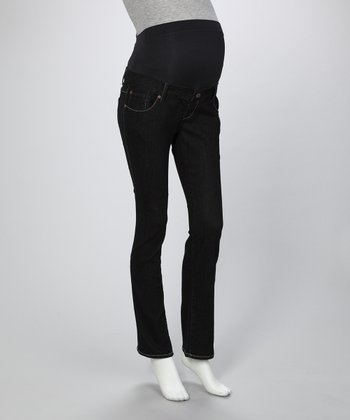 Black Straight-Leg Maternity Jeans