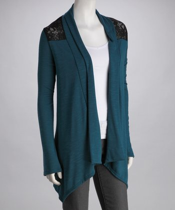 Teal Lace Shoulder Plus-Size Open Cardigan