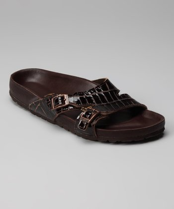 Brown Crocodile Shakina Slide - Women
