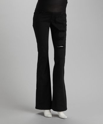 Black Distressed Maternity Jeans