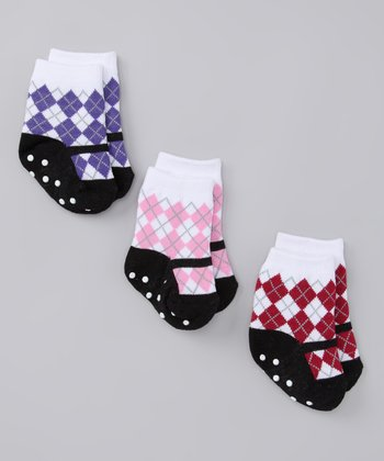 Purple, Pink & Burgundy Argyle Socks Set