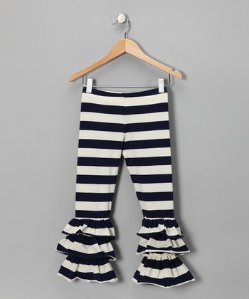 Navy Stripe Ruffle Leggings - Infant, Toddler & Girls