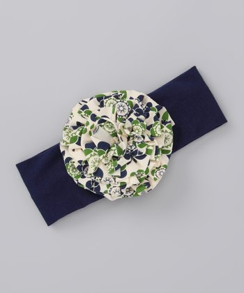 Navy Flower Headband
