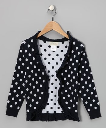 Navy Polka Dot Ruffle Open Cardigan - Toddler & Girls