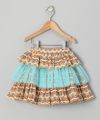 Blue & Beige Peachy Keen Tiered Skirt - Girls