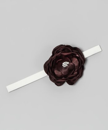 White & Brown Flower Belt