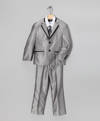 Metallic Gray Five-Piece Suit Set - Toddler & Boys