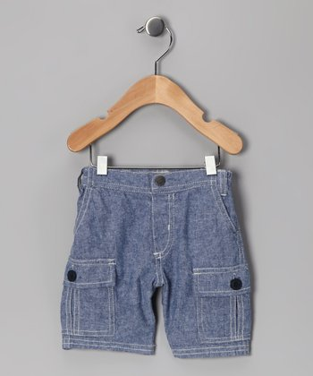 Blue Chambray Linen Cargo Shorts - Infant & Boys