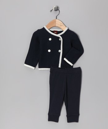 Indigo Double-Breasted Cardigan & Pants - Infant