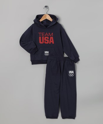 Navy 'Team USA' Hoodie & Sweatpants - Toddler