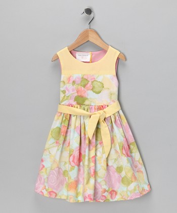 Yellow Watercolor Audrey Dress - Toddler