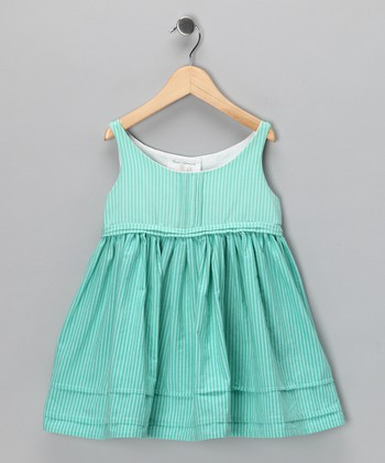 Aqua Stripe Charlotte Dress - Infant, Todder & Girls