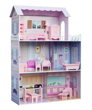 Fancy Mansion Dollhouse & Furniture Set