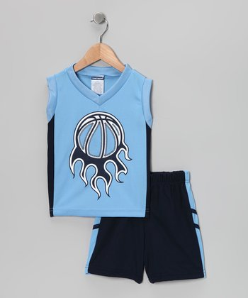 Blue Basketball Tank & Shorts - Toddler