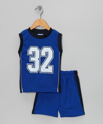 Royal Blue '32' Basketball Tank & Shorts - Toddler