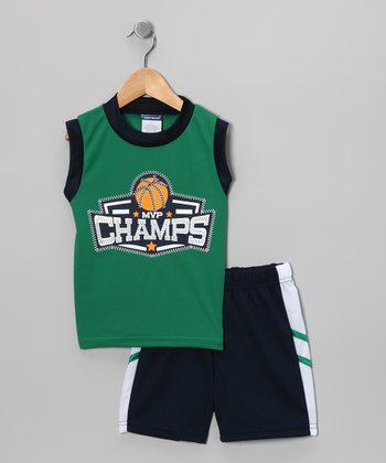Green 'Champs' Basketball Tank & Shorts - Toddler