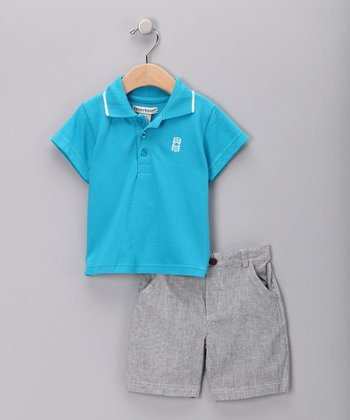 Turquoise Polo & Gray Shorts - Infant & Toddler