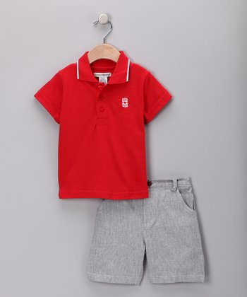 Teddy Boom Red Polo & Gray Shorts - Infant & Toddler