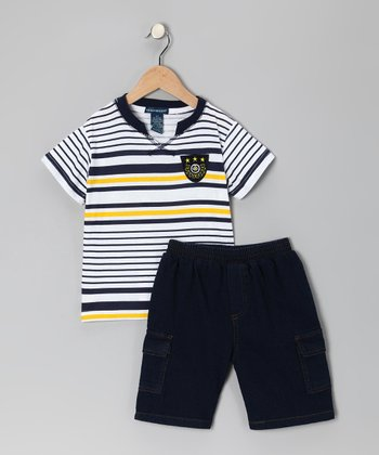 Gold Stripe Tee & Denim Shorts - Infant
