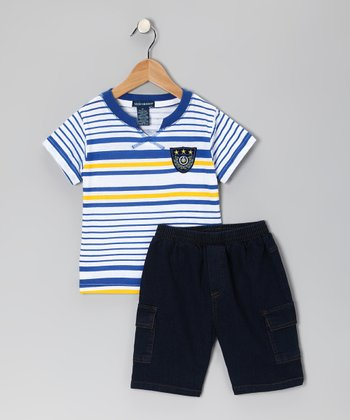 Royal Stripe Tee & Denim Shorts - Infant