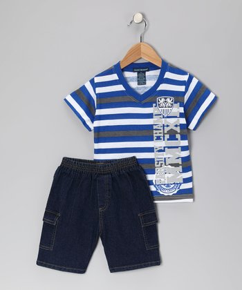 Blue 'Champs' Tee & Denim Shorts - Infant