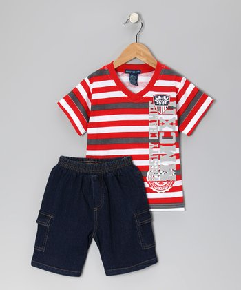 Red 'Champs' Tee & Denim Shorts - Infant