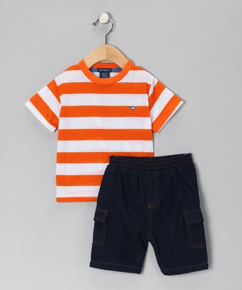 Teddy Boom Orange Stripe Tee & Denim Shorts - Infant & Toddler