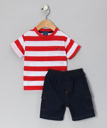 Teddy Boom Red Stripe Tee & Denim Shorts - Infant & Toddler