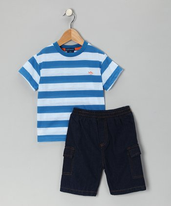 Teddy Boom Royal Stripe Tee & Denim Shorts - Infant & Toddler