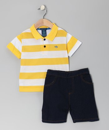 Gold Stripe Polo & Denim Shorts - Infant & Toddler