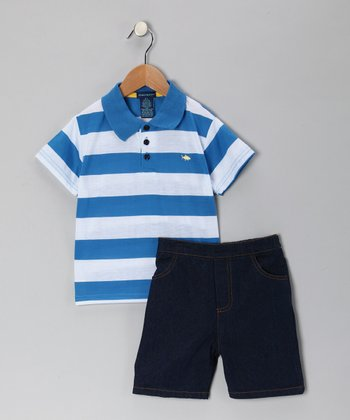 Royal Stripe Polo & Denim Shorts - Infant & Toddler