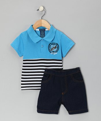 Teddy Boom Blue Stripe Polo & Denim Shorts - Infant & Toddler