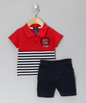 Red Stripe Polo & Denim Shorts - Infant & Toddler