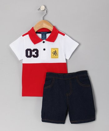 Teddy Boom Red & White Polo & Denim Shorts - Infant & Toddler