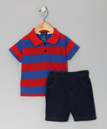 Red Stripe Polo & Denim Shorts - Toddler