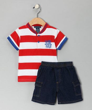 Red Stripe Henley & Denim Shorts - Infant & Toddler