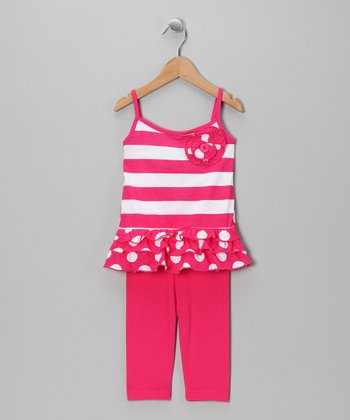 Fuchsia Stripe Tank & Leggings - Infant