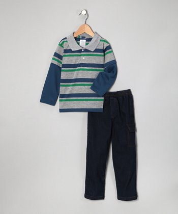 Light Blue Double Stripe Layered Polo & Jeans - Toddler