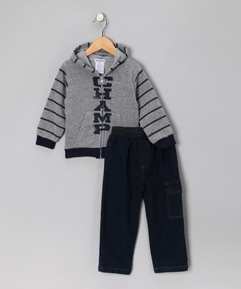 Gray 'Champ' Zip-Up Hoodie & Jeans - Infant & Toddler