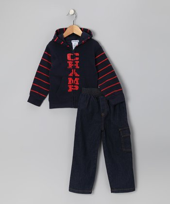 Navy 'Champ' Zip-Up Hoodie & Jeans - Infant & Toddler