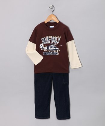 Brown Layered Tee & Jeans - Toddler