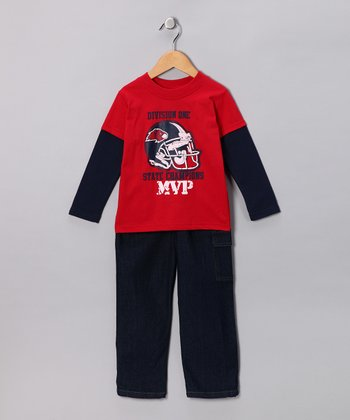 Red Football Layered Tee & Jeans - Toddler