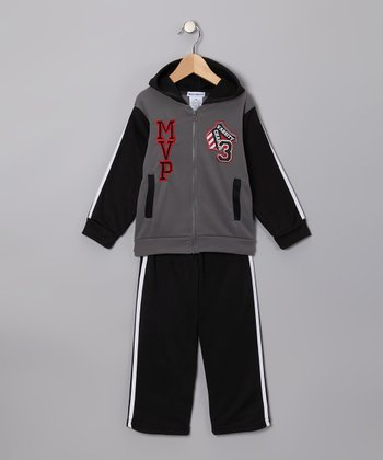 Gray 'MVP' Zip-Up Hoodie & Pants - Toddler