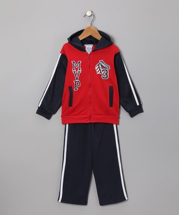Red 'MVP' Zip-Up Hoodie & Pants - Toddler