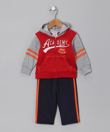 Red 'Academy' Zip-Up Hoodie & Pants - Infant & Boys
